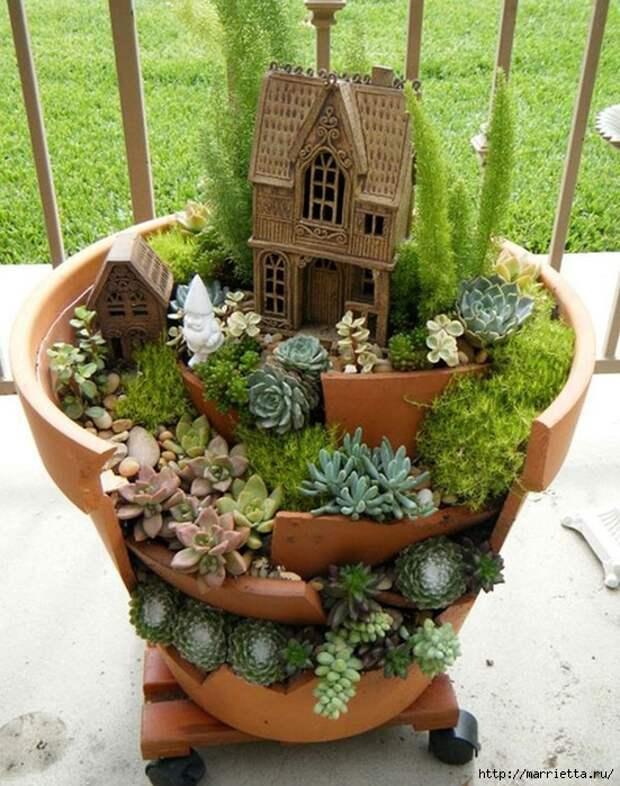 Миниатюрный сад из цветочного горшка. Идеи (11) (551x700, 338Kb)
