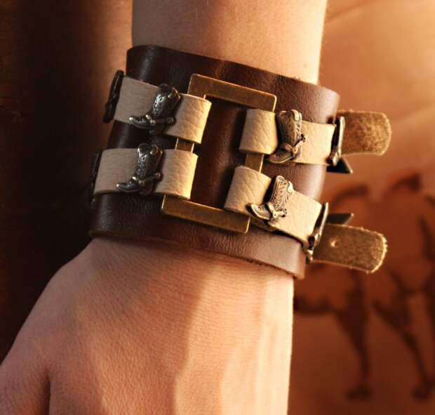 Кожаные браслеты ручной работы