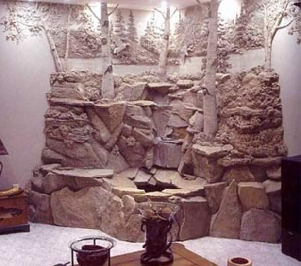 Комбинация камня и гипса в декоре стен