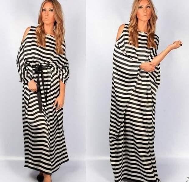 Шикарное платье в полоску (выкройка) простая выкройка платья