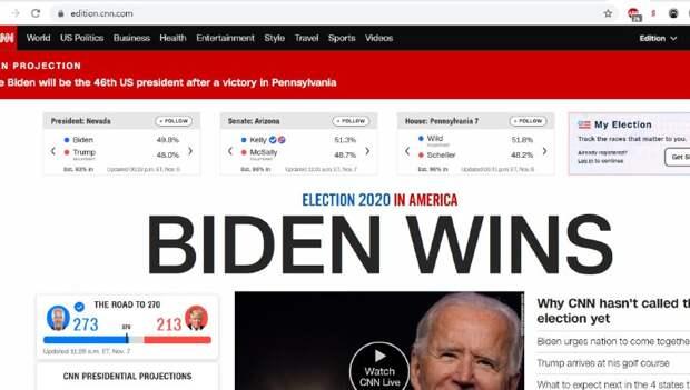 """""""Байден победил"""": CNN не удержался от """"сенсации"""" после публикации итогов выборов в Пенсильвании"""
