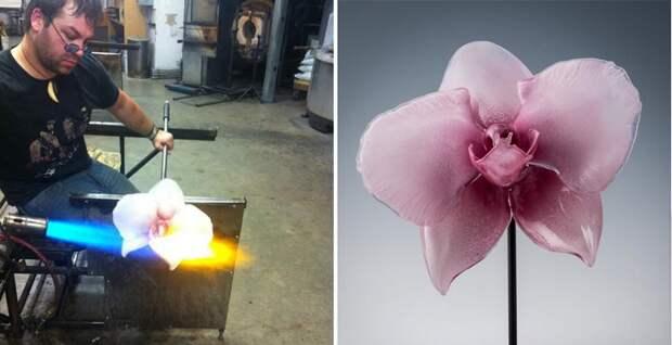 стеклянные цветы и мастер стеклодув