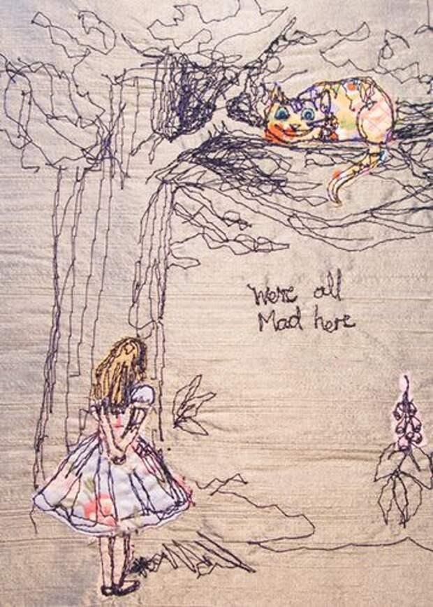 """Вышивка по мотивам """"Алисы в стране чудес"""""""