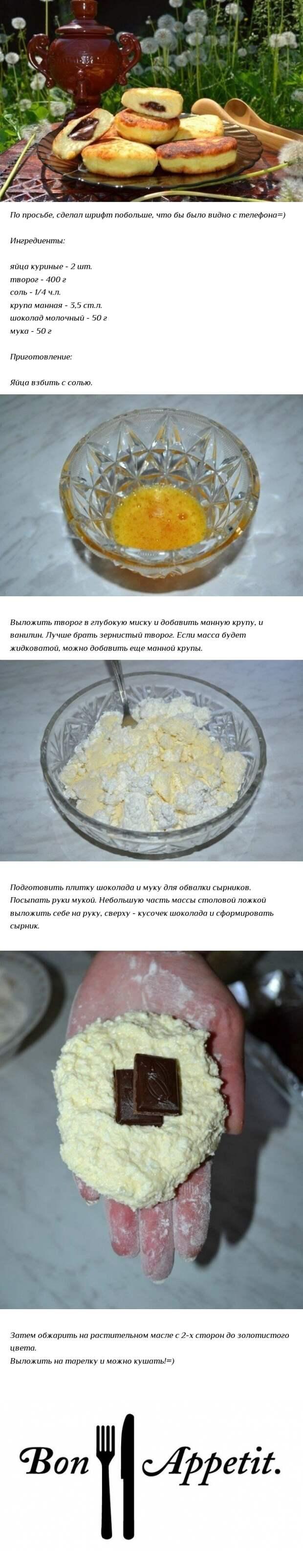 Сырники с шоколадом Еда, Рецепт, Сырники, Завтрак, Из сети, Длиннопост