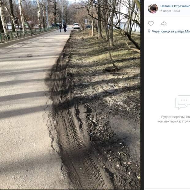 Объезжающие пробку водители портят газон на Череповецкой