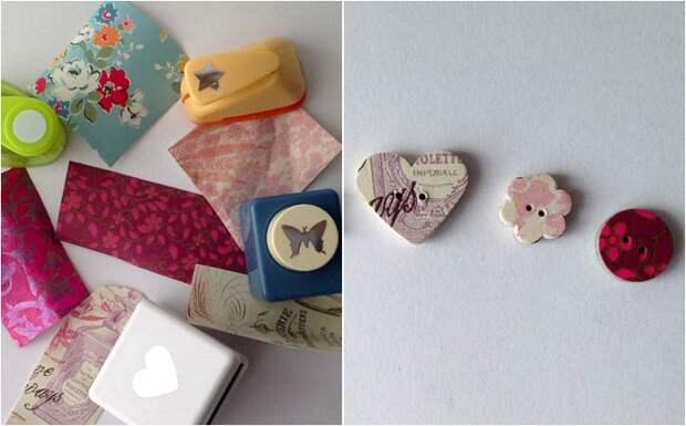 Милые маленькие пуговки сделаны из ненужных коробок из-под хлопьев и старой оберточной бумаги