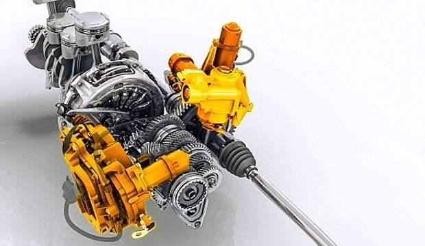 Роботизированная пятиступенчатая коробка Easy'R. Желтым цветом показаны исполнительные механизмы управления сцеплением и переключением передач. В сущности, всё та же механическая коробка от Логана, но с измененными передаточными числами и контуром охлаждения.