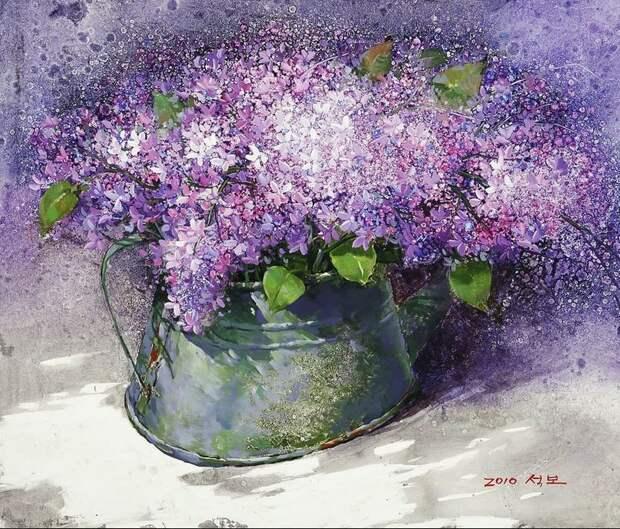 Корейский художник Yi Seong-bu. Натюрморт с цветами. Картина седьмая