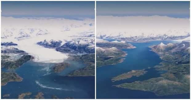 Посмотрите, как за 40 лет растаяли ледники, исчезли леса и выросли города