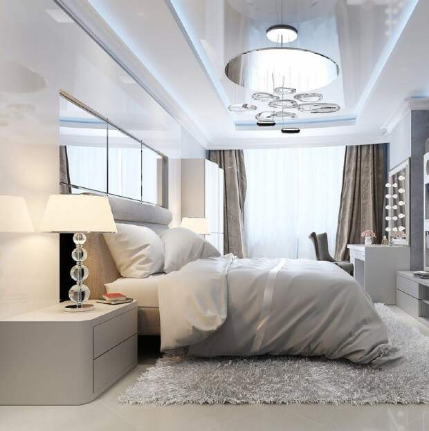 интерьер спальни с красивым потолком