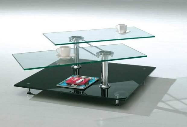 Трехуровневый стеклянный журнальный столик фото