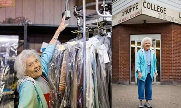 Ей 100 лет, но она все еще работает в прачечной по 11 часов 6 дней в неделю прачечная, работа