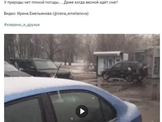 Видео апрельского снега в Ховрине попало в интернет