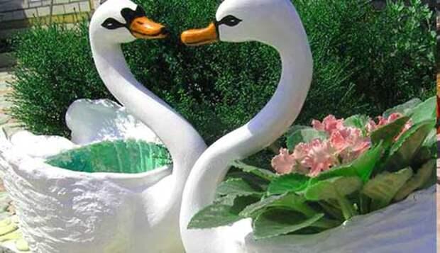 Поделки из пластиковых бутылок - лебеди.