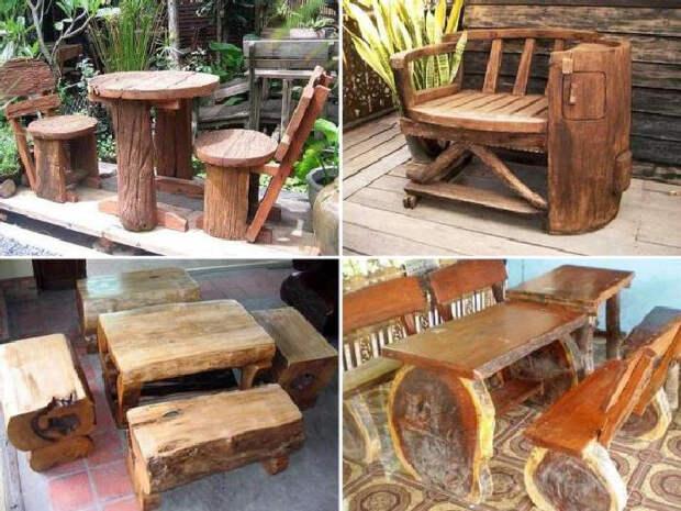 Дачная мебель из пней. \ Фото: kz1.website.