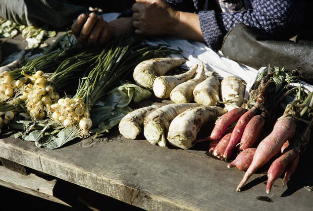 Russia, display of vegetables for sale at Khabarovsk market