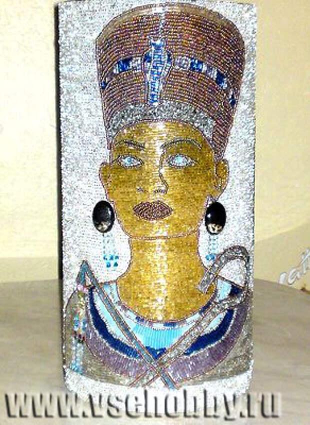 декор вазы бисером в египетском стиле