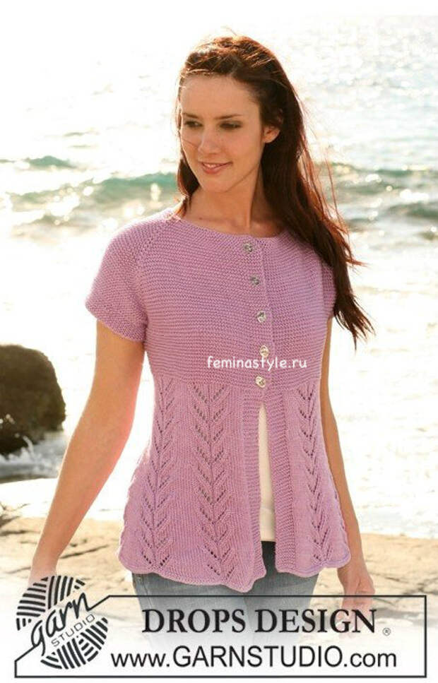 Вязание спицами жакета с короткими рукавами