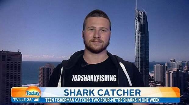 Австралиец ловит акул голыми руками