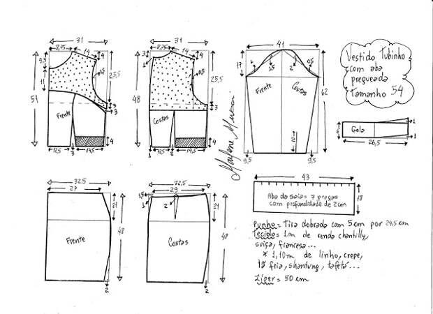 Выкройка платья с ажурной кокеткой и рукавами