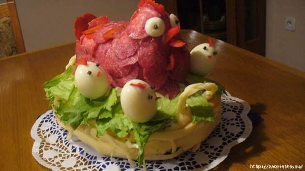 Соленый закусочный торт. Идеи оформления к ПАСХЕ (19) (700x394, 224Kb)