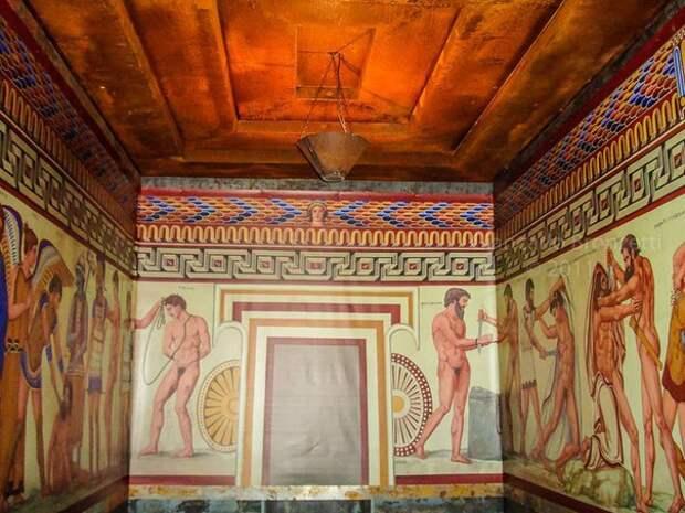 """Реконструкция фресок из гробницы """"Франсуа"""". Этрусский некрополь Вульчи. ок. IV в. до н.э."""