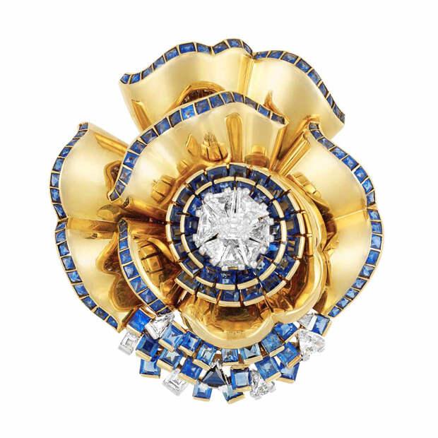 Retro Gold, Platinum, Diamond and Sapphire Flowe