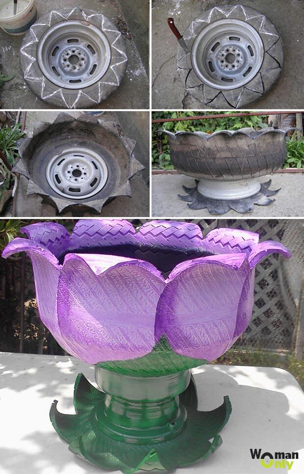 Поделки из шин для сада своими руками - фото