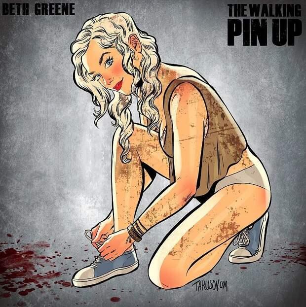 The Walking Dead в стиле пинап от Андрея Тарусова pinup, walking dead, Андрей Тарусов, картинки, пинап, ходячие мертвецы