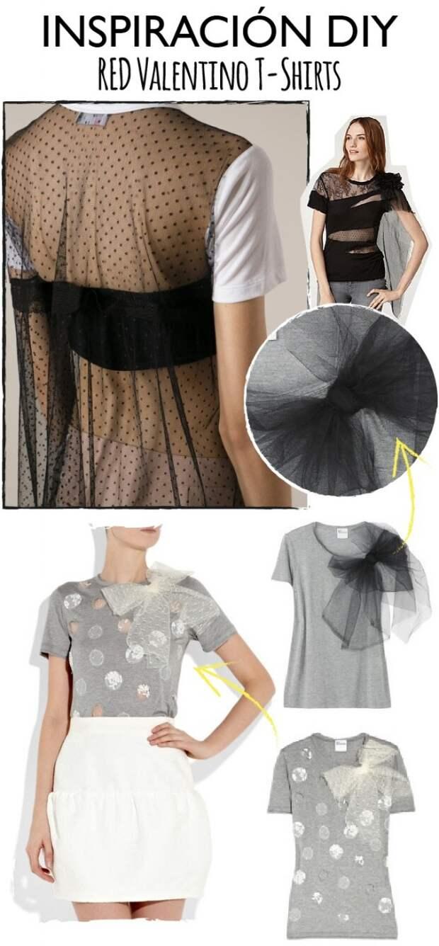 Вставка из фатина на трикотажном платье (Diy)
