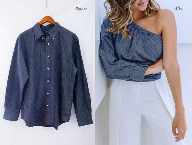 Переделка блузки в летний топ с одним рукавом