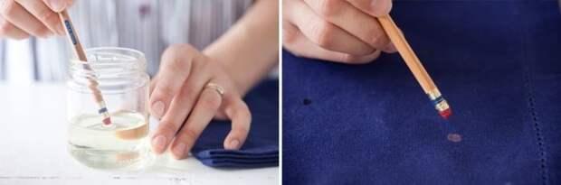 Рисунок на ткани с помощью отбеливателя