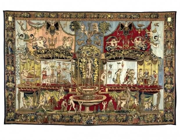 """Гобелен """"Триумф Вакха"""". Рисунок для него выполнен Джиованни да Удина по мотивам Рафаэля, а сам гобелен изготовлен в Брюсселе в середине XVI в."""