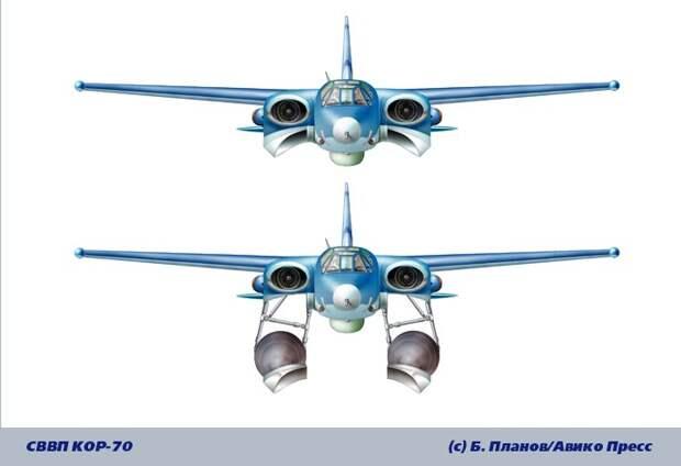 Экспериментальный самолет с вертикальным взлетом и посадкой КОР-70