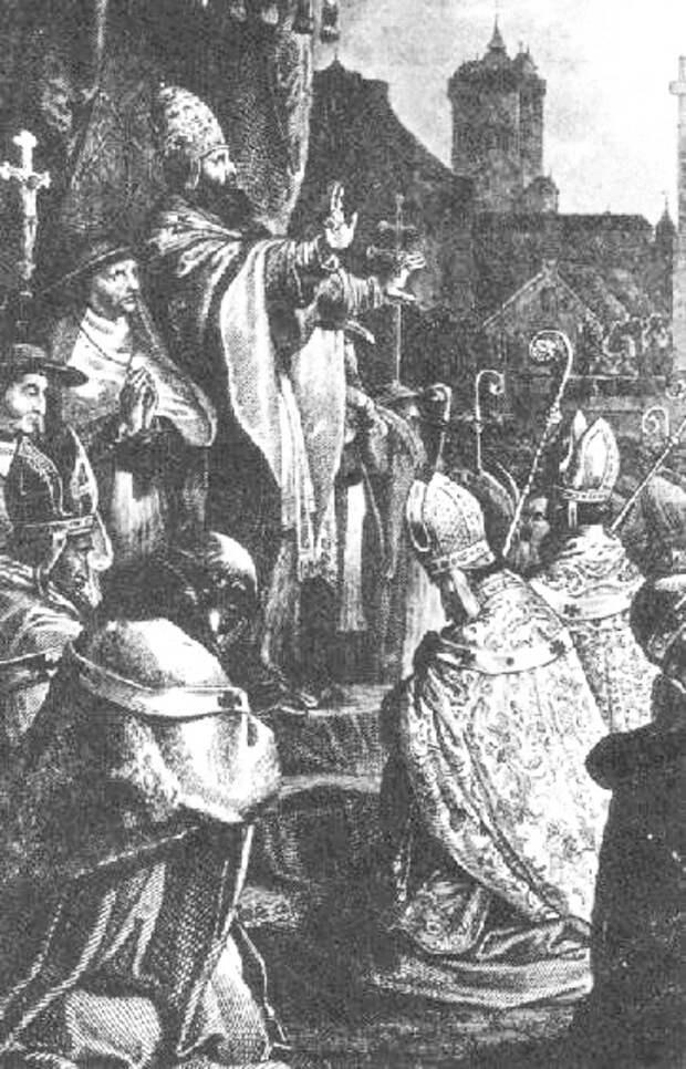 Папа Урбан II на Клермонском соборе благословляет Крестовый поход