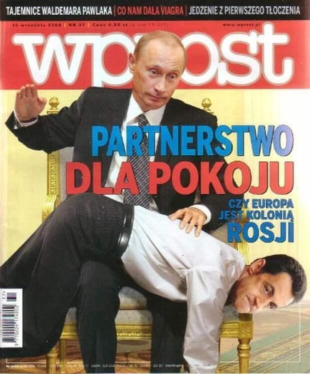 """Владимир Путин порет (в смысле – бьёт) французского Президента Николя Саркози. Надпись на обложке такова: «Партнёрство во имя мира. Является ли Европа колонией России?"""" издания, издевательство, интересное, мир, обложки, политики, странное"""