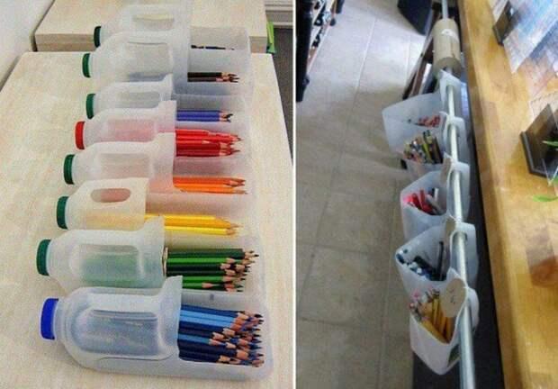 В такой органайзер малыши будут складывать с большим удовольствием карандаши бутылка, пластик