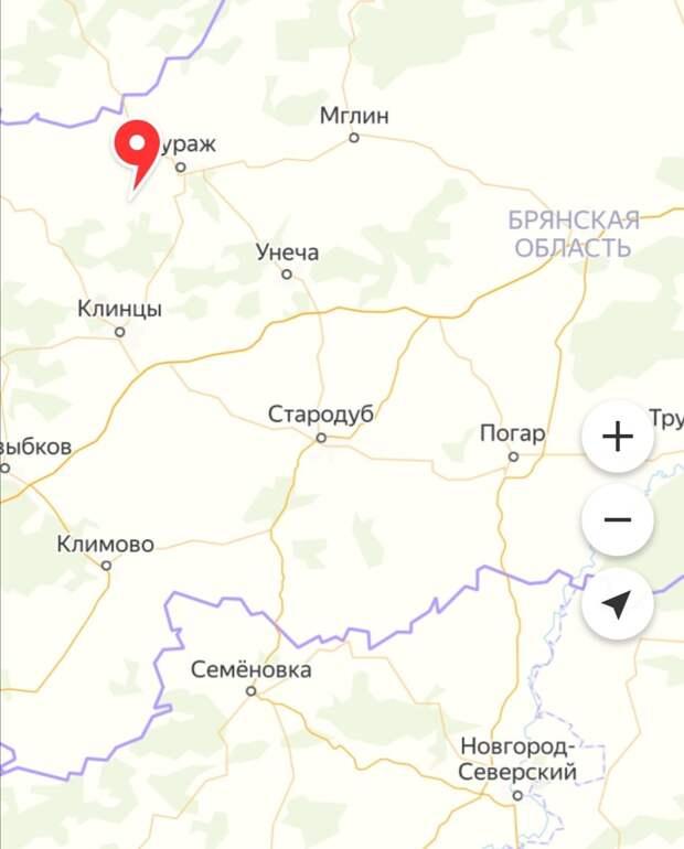 Местонахождение реки Ипуть на карте