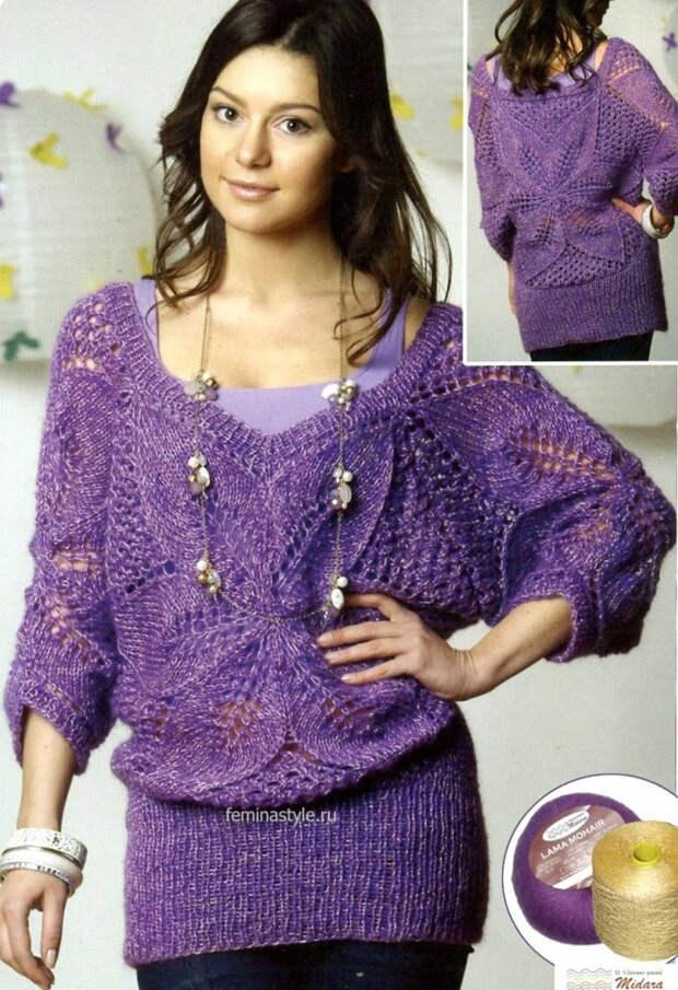 Женский мохеровый пуловер спицами