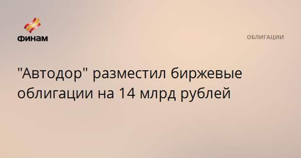 """""""Автодор"""" разместил биржевые облигации на 14 млрд рублей"""