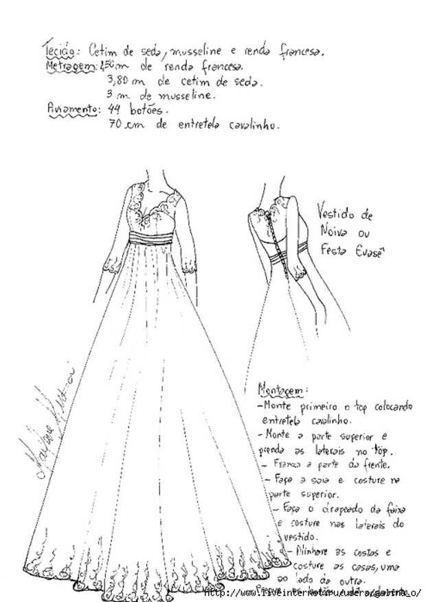 Простая выкройка свадебного платья
