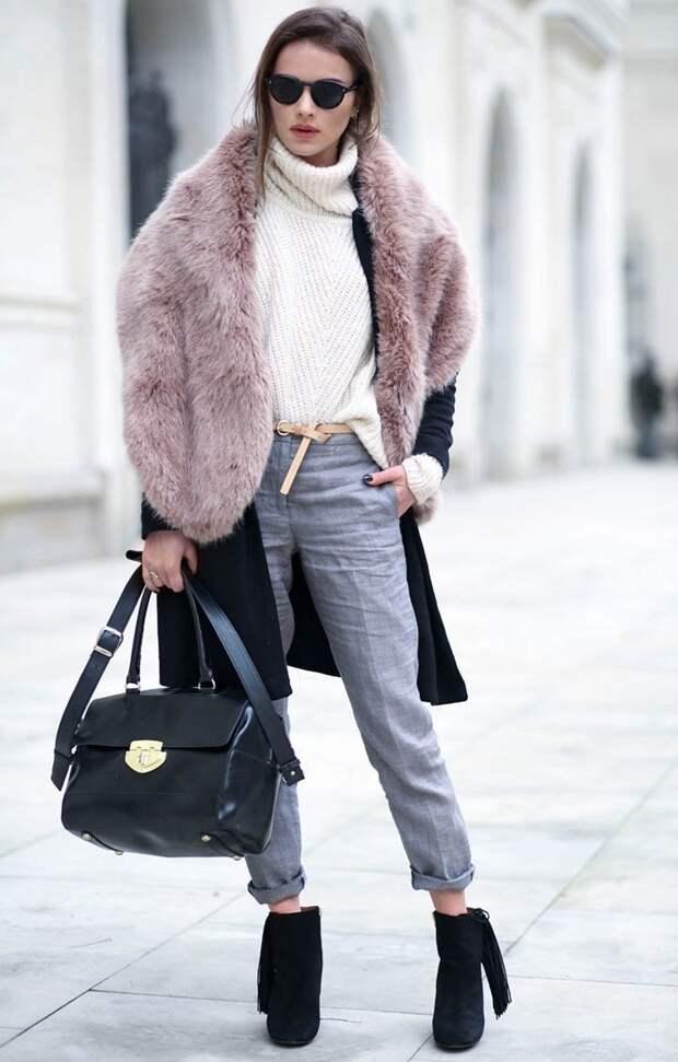 Объёмный свитер крупной вязки, вязаная мода 2016, модные вязаные вещи 2016 (фото 13)