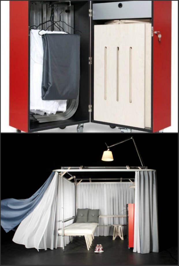 Абсолютно потрясающий чемодан, внутри которого скрывается целая комната площадью в 4 квадратных метра с кроватью, столом, стулом и шкафом.