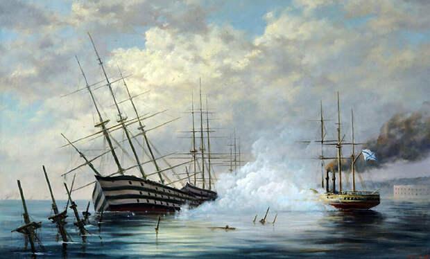 Затопление адмиралом Нахимовым кораблей в Севастопольской бухте - 1855 г. Картина Георгия Дмитриева.