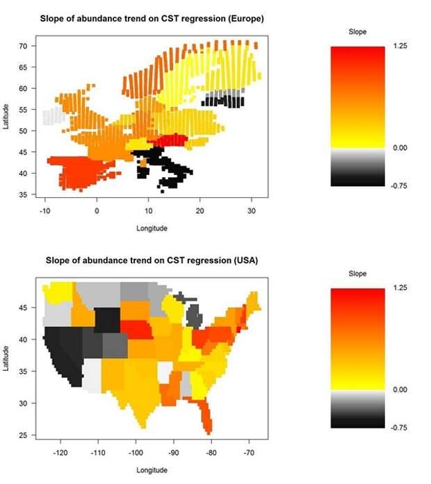 Рис. 4. Связь между трендами климатической пригодности (CST) и фактическими трендами численности всех видов на исследуемой территории Европы (сверху) и США (снизу). По осям отложены географические широта и долгота. Разными цветами показан наклон линии регрессии, отражающей зависимость численности птиц от CST. Теплые тона соответствуют прямой связи (чем больше климатическая пригодность, тем выше индексы численности), серые — обратной. Авторы отмечают, что большинство оценок для отдельных государств, и, в частности, все случаи обратной взаимосвязи — статистически недостоверны. Рисунок из дополнительных материалов к обсуждаемой статье в Science