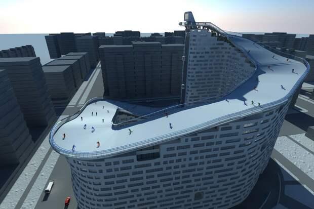 С порога на сноуборд: проект жилого дома с горнолыжным спуском на крыше
