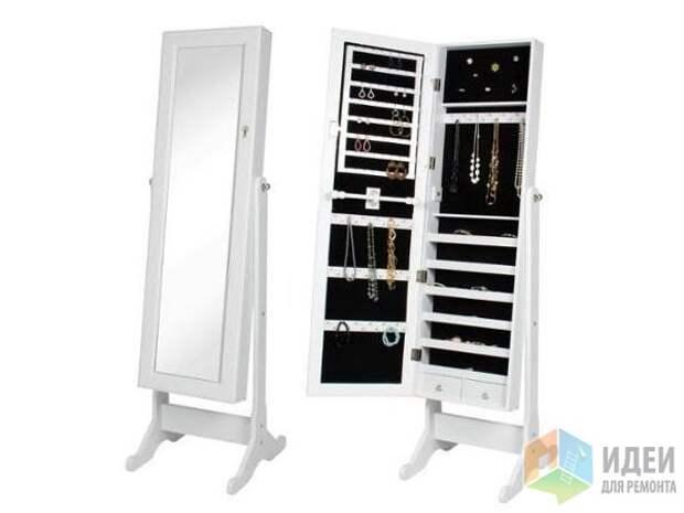 Идеи для хранения украшений, потайной шкафчик в зеркале