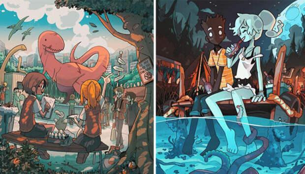 Художник Карлес Далмау создает милые картины, но стоит присмотреться внимательнее…