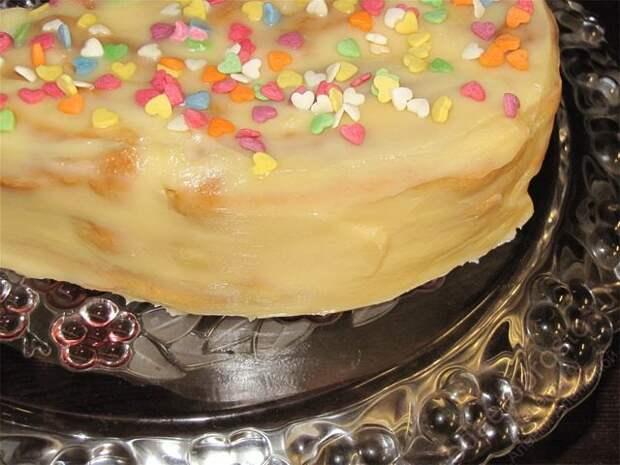 Вытянуть аккуратно фольгу из под торта. Торт Дамские пальчики готов!