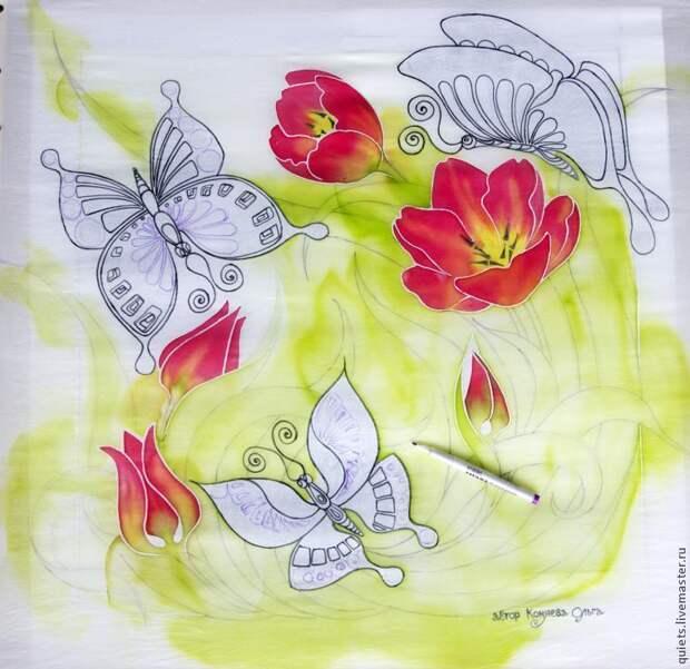 """Расписываем платок """"Бабочки и тюльпаны"""": мастер-класс"""